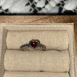 """James Avery """"Heart with Garnet Twisted Wire Ring"""""""